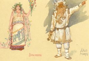 Весна-красна и Дед Мороз. Эскизы костюмов к опере Снегурочка (1885-1886).
