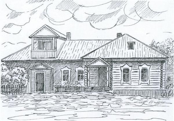 Дом при уржумской ферме. Рисунок-реконструкция В. Капель