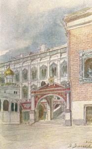 """""""Красное крыльцо и Грановитая палата"""". Проект наружной раскраски зданий (1900)."""