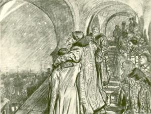 """Открытка """"Грозный смотрит на комету, предвещающую ему смерть"""". 1910."""